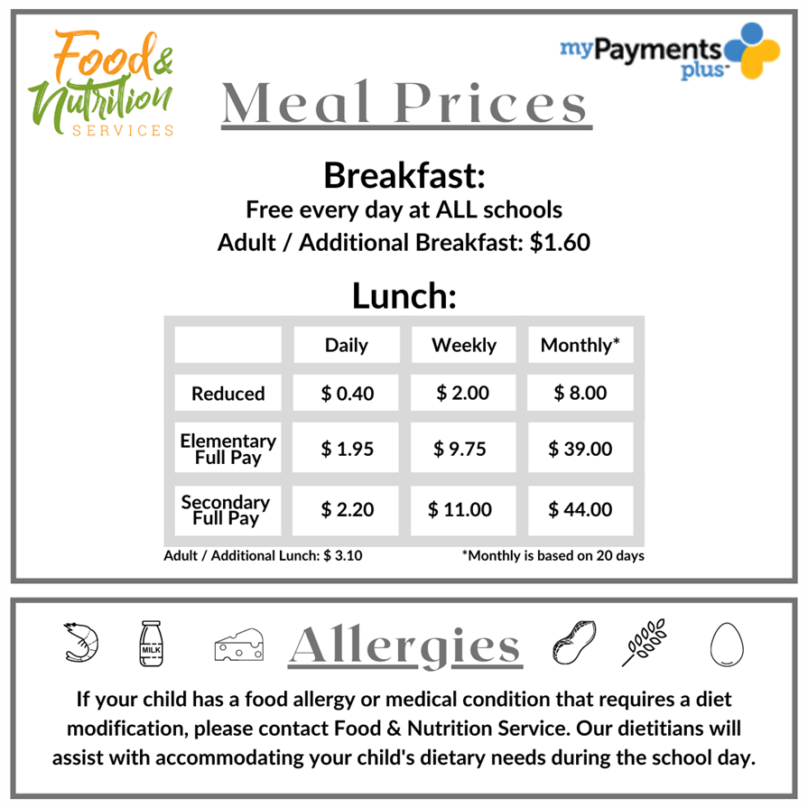 School Meal Pricing 2020-2021