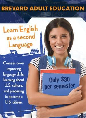 ESOL rack card. Learn English as a second language