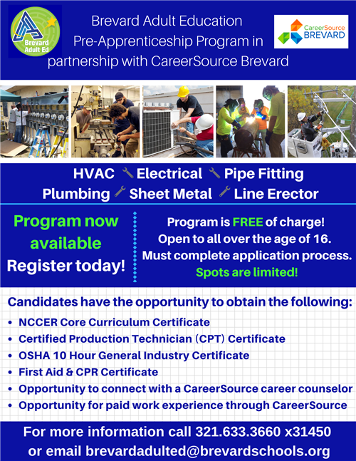 Pre-Apprenticeship Program now available.