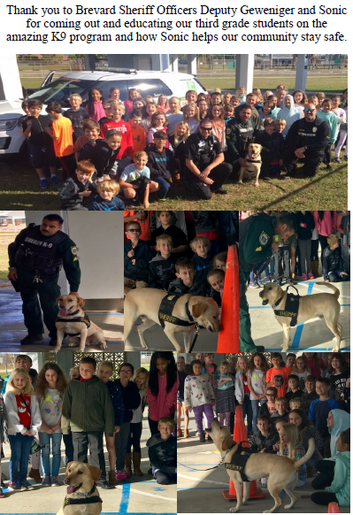 students with the Sheriff's deputy and the K9 dog sonic