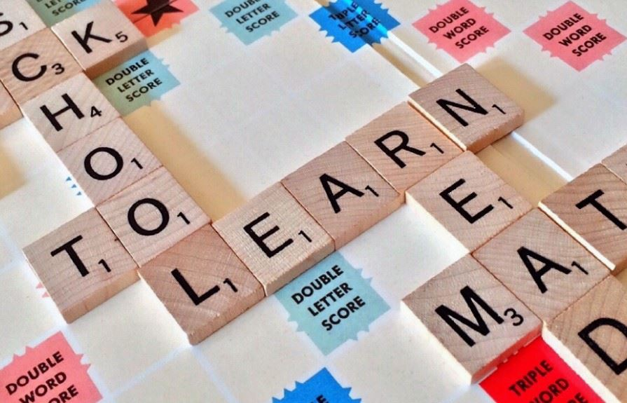 Math, learning, reading in scrabble letters