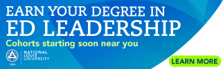 Earn your degree in ed leadership, cohorts starting soon, National Louis University, learn more