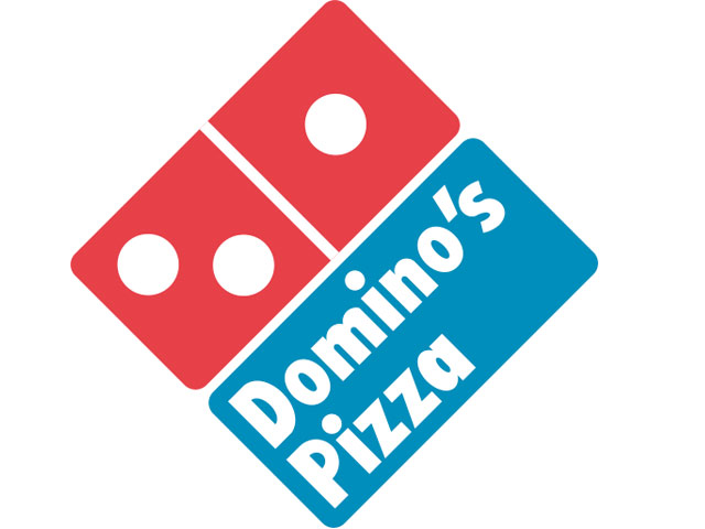 Domino's with red and blue and white symbol