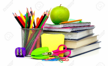 school supplies and notebooks and apple