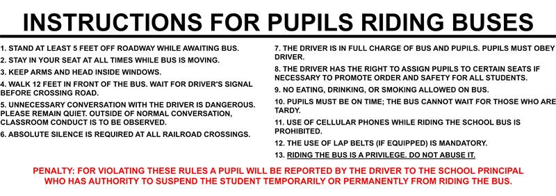 Instructions for pupils riding buses
