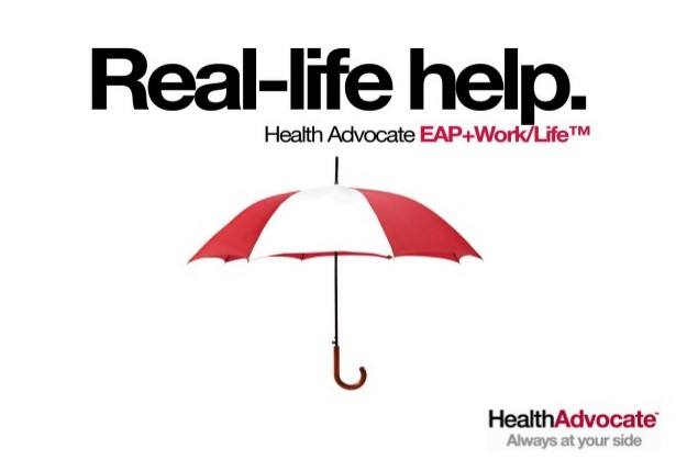 umbrella, the words Real-life help. Health Advocate EAP+Work/Life   Always at your side.