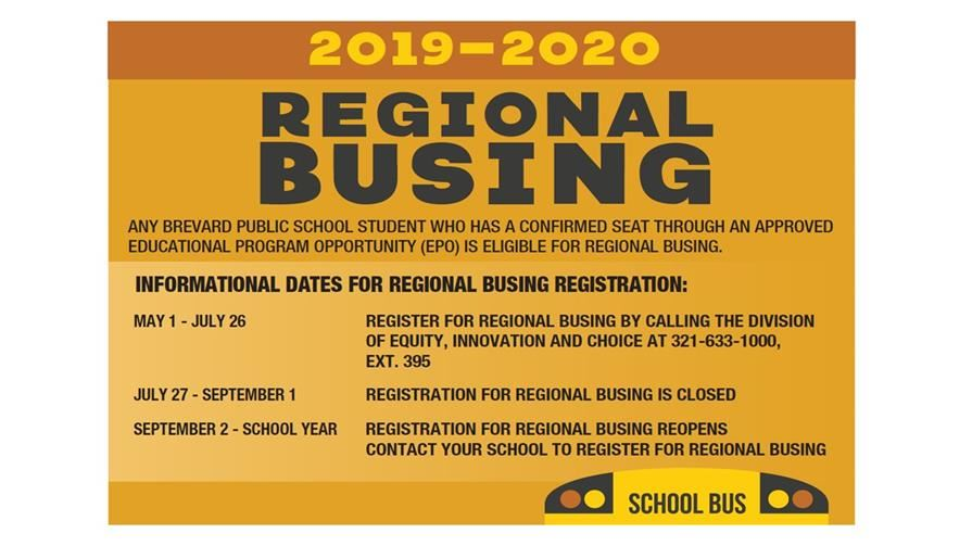 Regional Busing Information for 2019-20