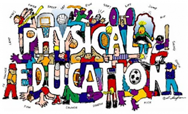 The words Physical Education surrounded by people performing various types of exercise