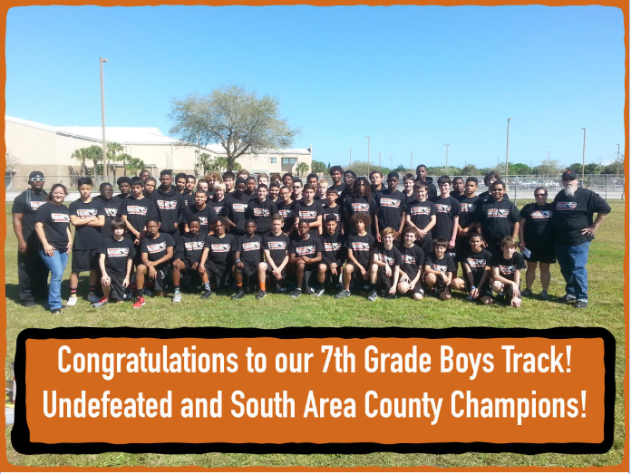 7th grade boys undefeated and south area county track champions!