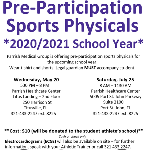 Sports Physical Dates for this summer