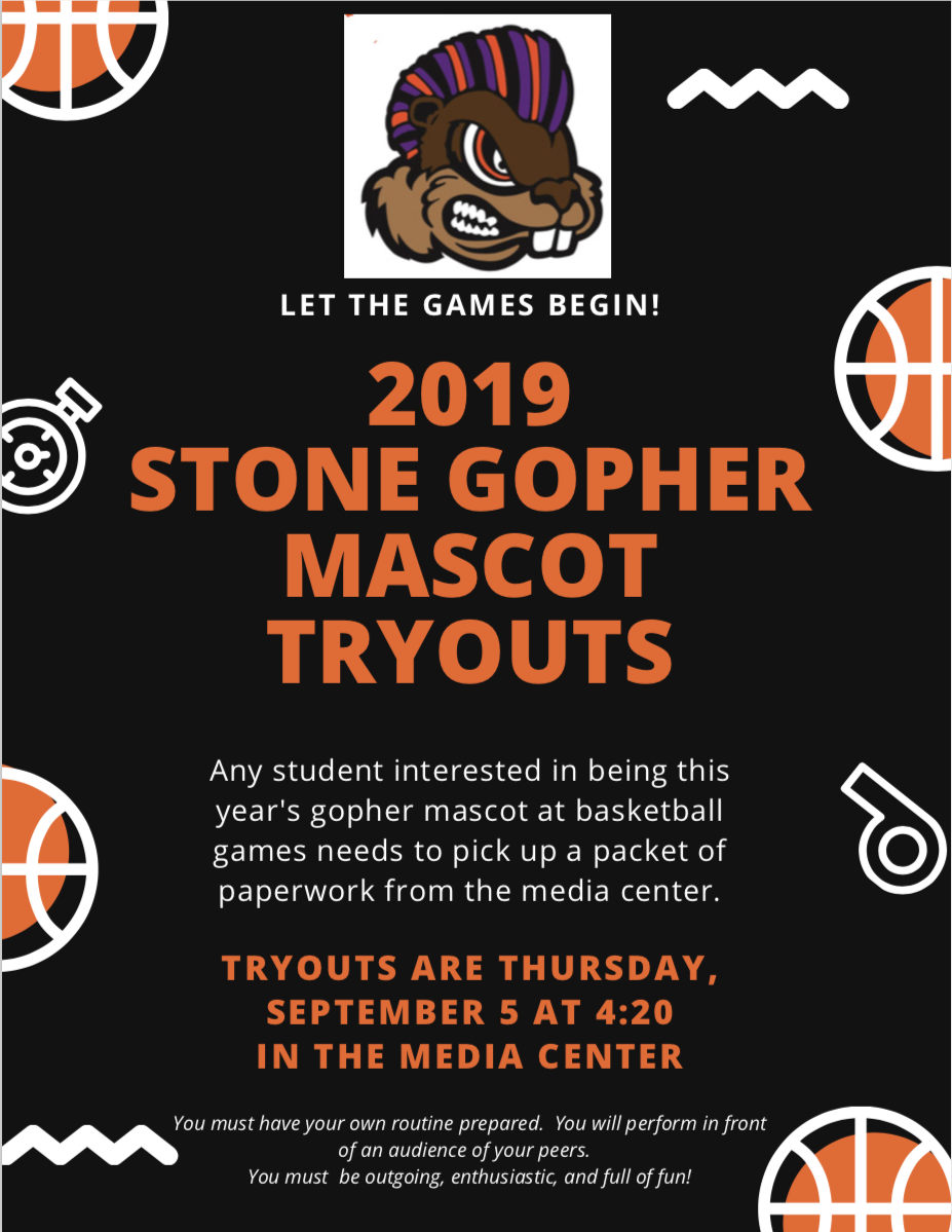 advertisement for gopher mascot tryouts for september 5