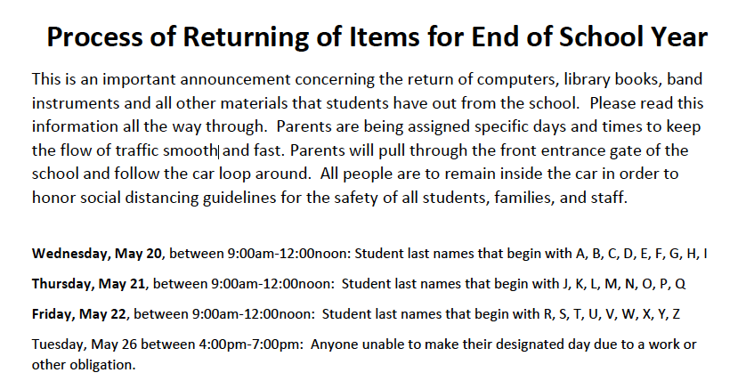 Important End of Year Return Information - Click Here