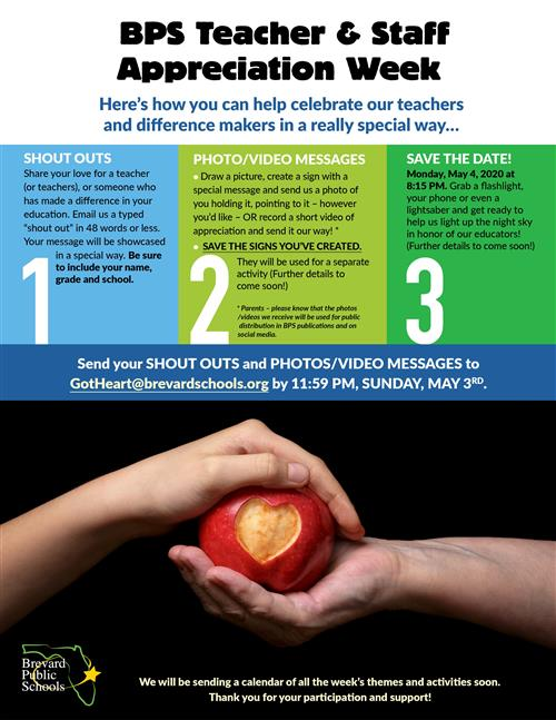 BPS Teacher & Staff Appreciation Week May 4-8