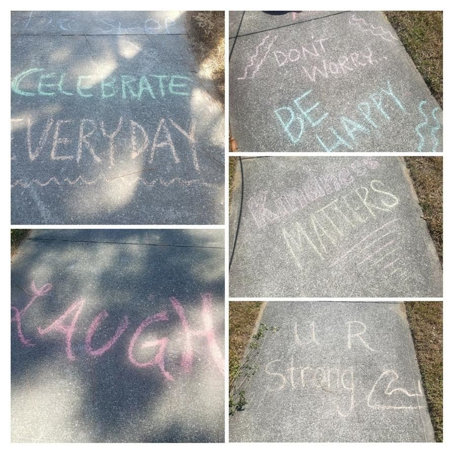 "Mrs. Benson would like to share a ""chalk walk"" of inspiration to our students and families! #besafe  #washhands  #staywell"