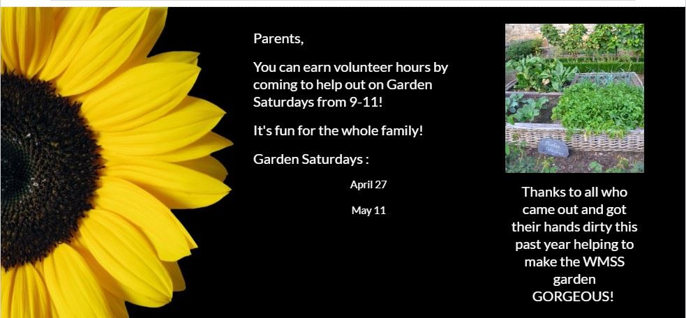 Garden Saturdays are from 9-11! Check the calendar for the dates! Come out and get your hands dirty!