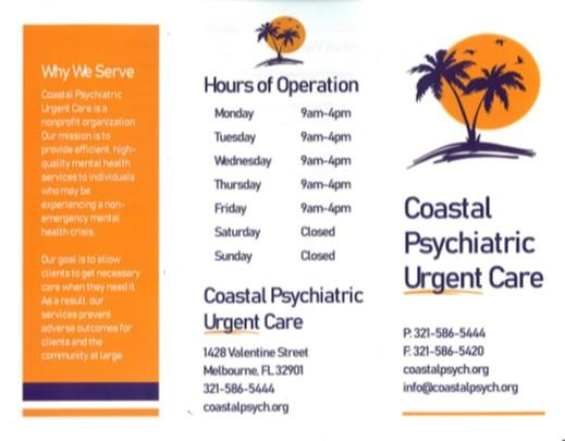 From our Guidance Dept: Coastal Psychiatric Urgent Care Info-Click Here!