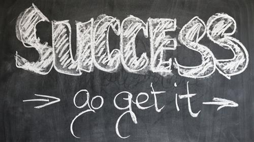 Chalkboard that reads Success go get it